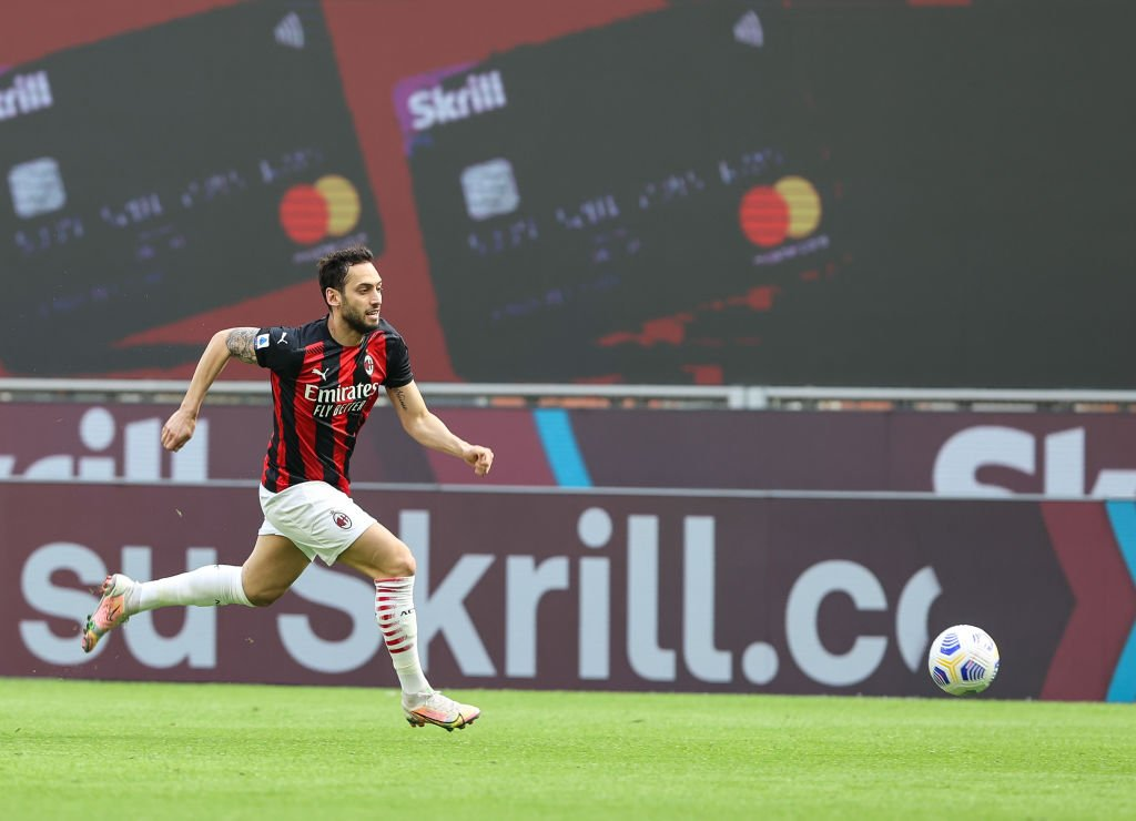 Hakan Calhanoglu of AC Milan seen in action during the Serie...