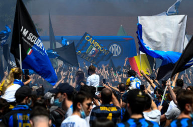 Fans of FC Internazionale show their support outside the